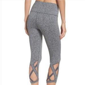 Zella Gray Lattice Crop Leggings XS